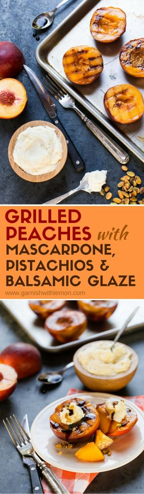 Don't turn off the grill for dessert! These quick and easy Grilled Peaches with Mascarpone, Pistachios and Balsamic Glaze will end your summer BBQ on a sweet note.