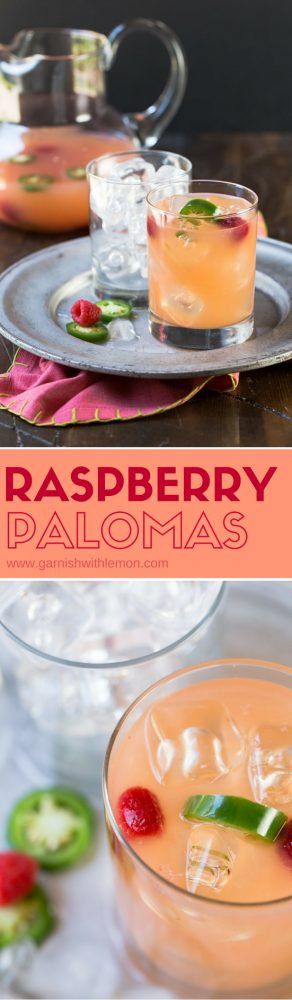 Calling all tequila lovers! A refreshing blend of citrus juices, sweet raspberries and spicy jalapenos, these simple Raspberry Palomas will be your new favorite tequila cocktail. Plus they can be made ahead of time and served as a batch recipe - perfect for parties!