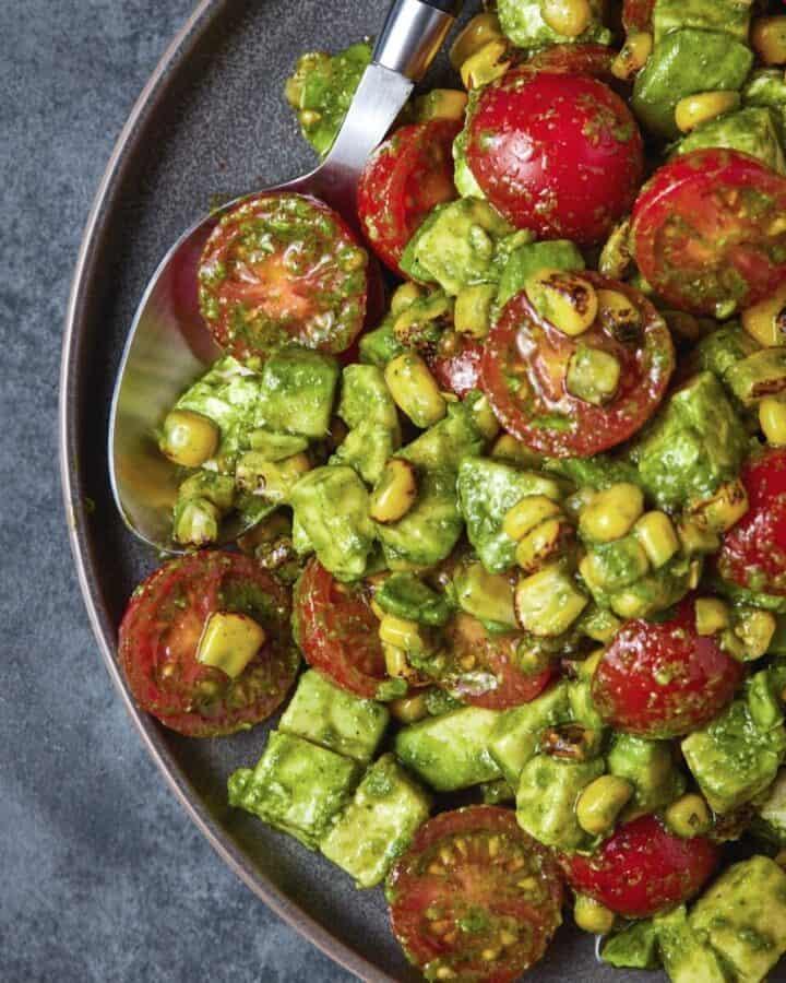 Tomato, Mozzarella and Grilled Corn Salad in a bowl.