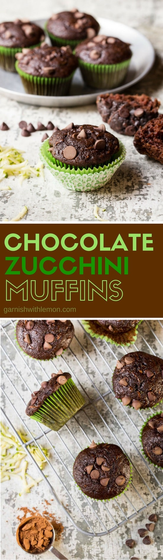 multiple chocolate muffins on plates and cooling racks.