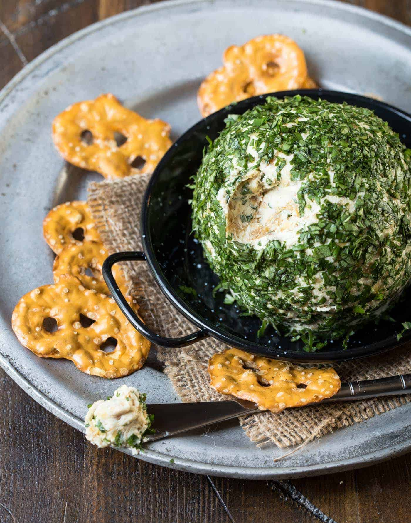 Make ahead appetizers don't get much tastier than this Goat Cheese, Basil and Vidalia Onion Cheese Ball recipe - perfect for parties!