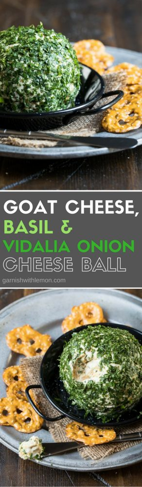 Who doesn't love a good cheese ball? This flavorful Goat Cheese, Basil & Vidalia Onion Cheese Ball is an easy make-ahead appetizer and is sure to be devoured at your next party.