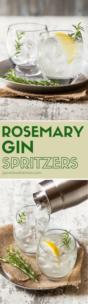Simple and refreshing, Rosemary Gin Spritzers are the perfect way to update your traditional gin and tonic.