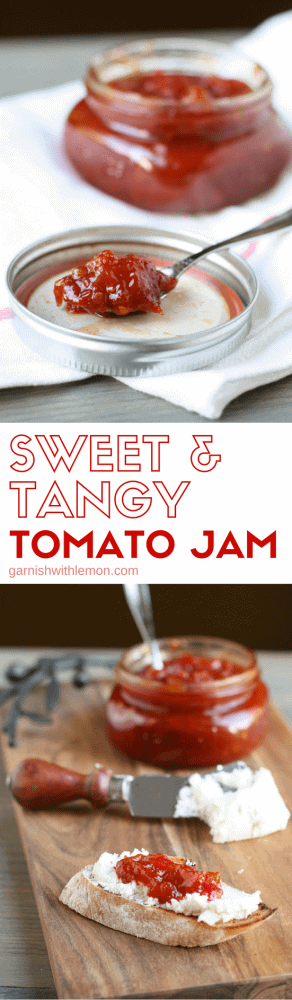 Grab all of those late season tomatoes for a batch of this Sweet & Tangy Tomato Jam - perfect for bread and goat cheese as an appetizer or slathered on pork tenderloin for the main course!