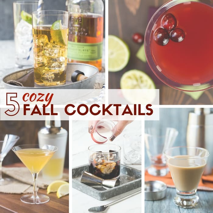 Various fall cocktails in glasses.