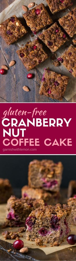 Need a gluten-free option for your brunch menu? Pin this make ahead recipe for Gluten-Free Cranberry Nut Coffee Cake. Perfect for holiday brunches!