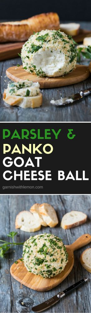Every great holiday spread has a few good cheese balls on it. Add this Parsley and Panko Crusted Goat Cheese Ball and watch it disappear!