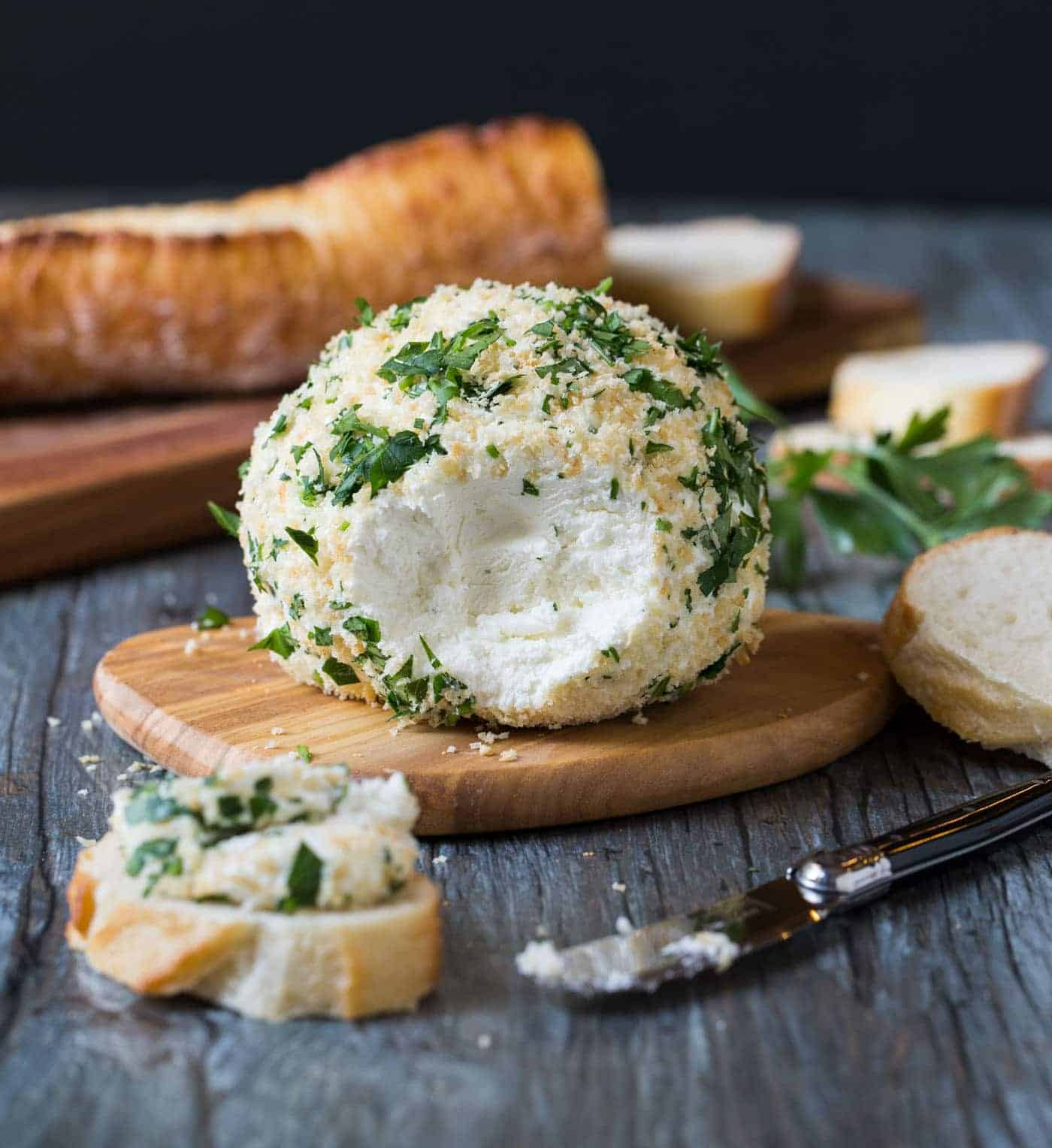 This Parsley and Panko Goat Cheese Ball is a great appetizer for a party!