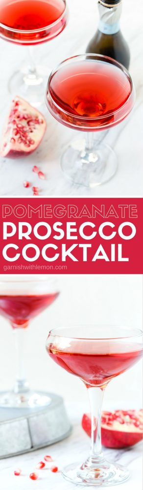 Prosecco and Pomegranate are the perfect partners to make a brunch cocktail that is crazy delicious. Your holiday menu needs this Pomegranate Prosecco Cocktail.