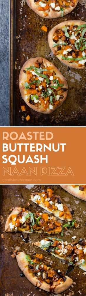 Take pizza night to a whole new level with this easy Roasted Butternut Squash Naan Pizza.