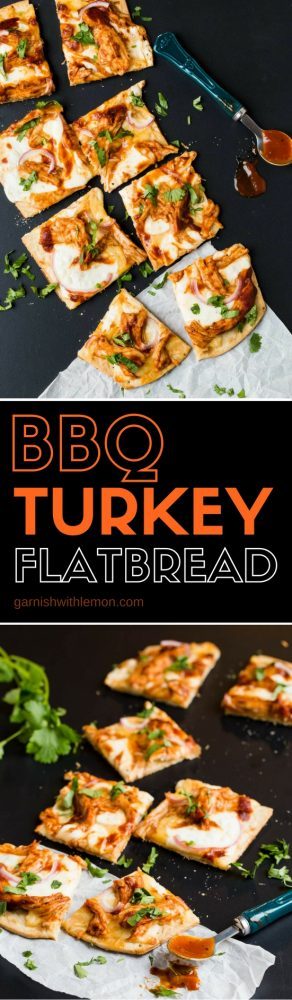 Give your leftover Thanksgiving turkey a bold new flavor with this quick and easy BBQ Turkey Flatbread recipe!