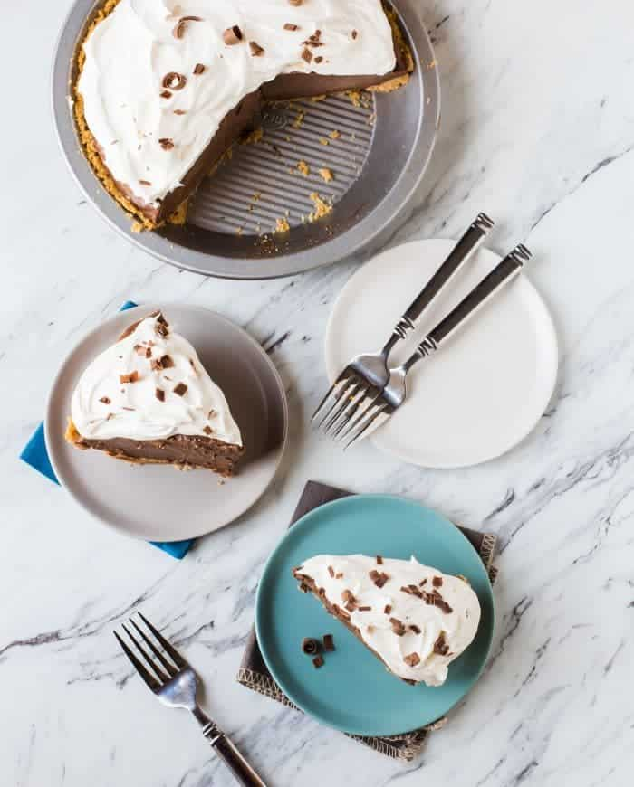 This Chocolate Pie will be the perfect ending to any meal. We love to change things up over the holidays and serve this pie!