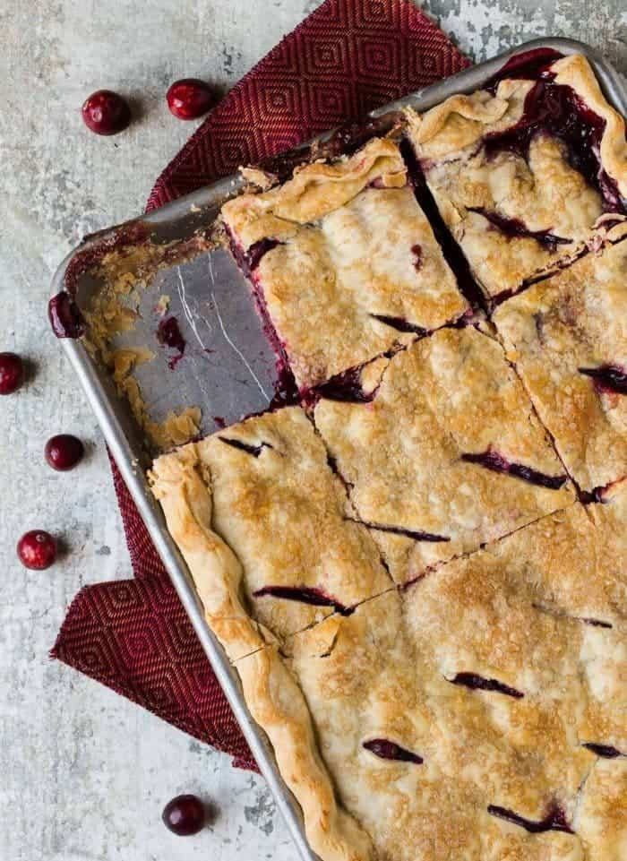 Cranberry Cherry Slab Pie is an easy way to make pie for a group!