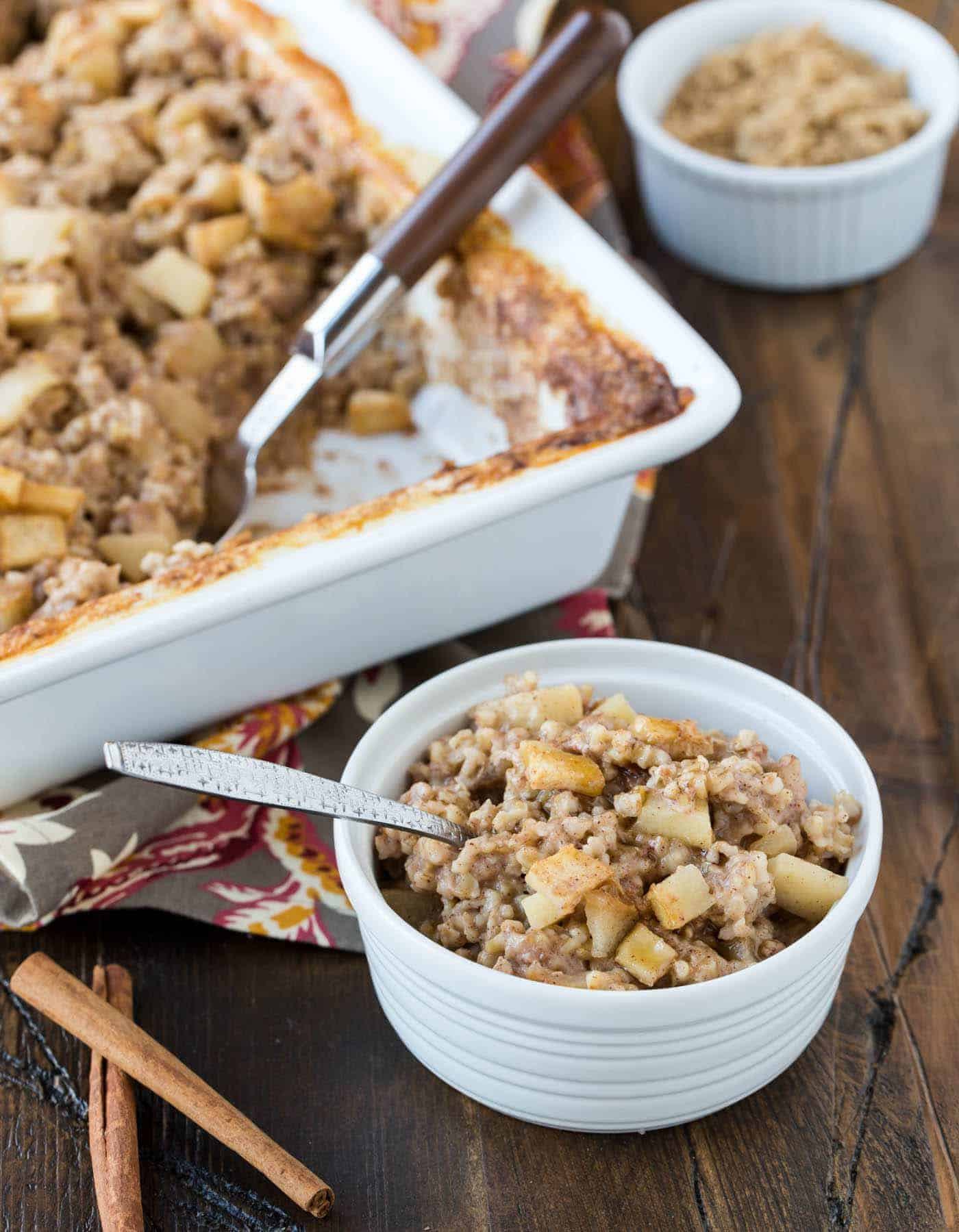 Baked Steel Cut Oatmeal Recipe With Apples And Cinnamon Garnish