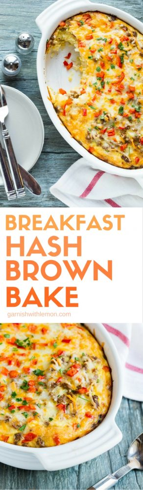 Need an easy breakfast for a crowd? This naturally gluten-free Breakfast Hash Brown Bake comes together in minutes and will be ready to eat 30 minutes later.