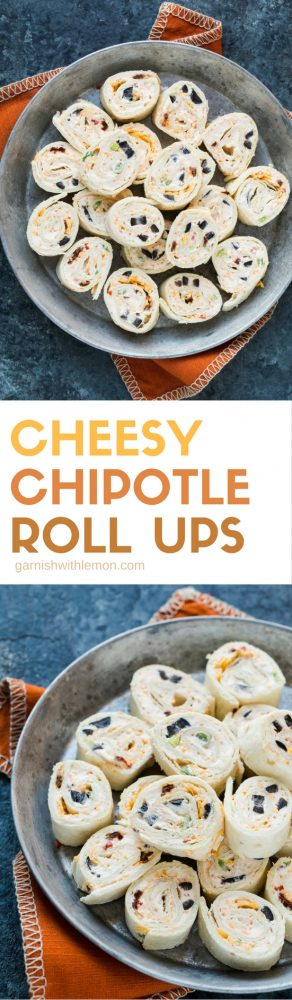 These Cheesy Chipotle Roll Ups are the perfect party snack to share. Easy, make-ahead and no oven or sauce needed!