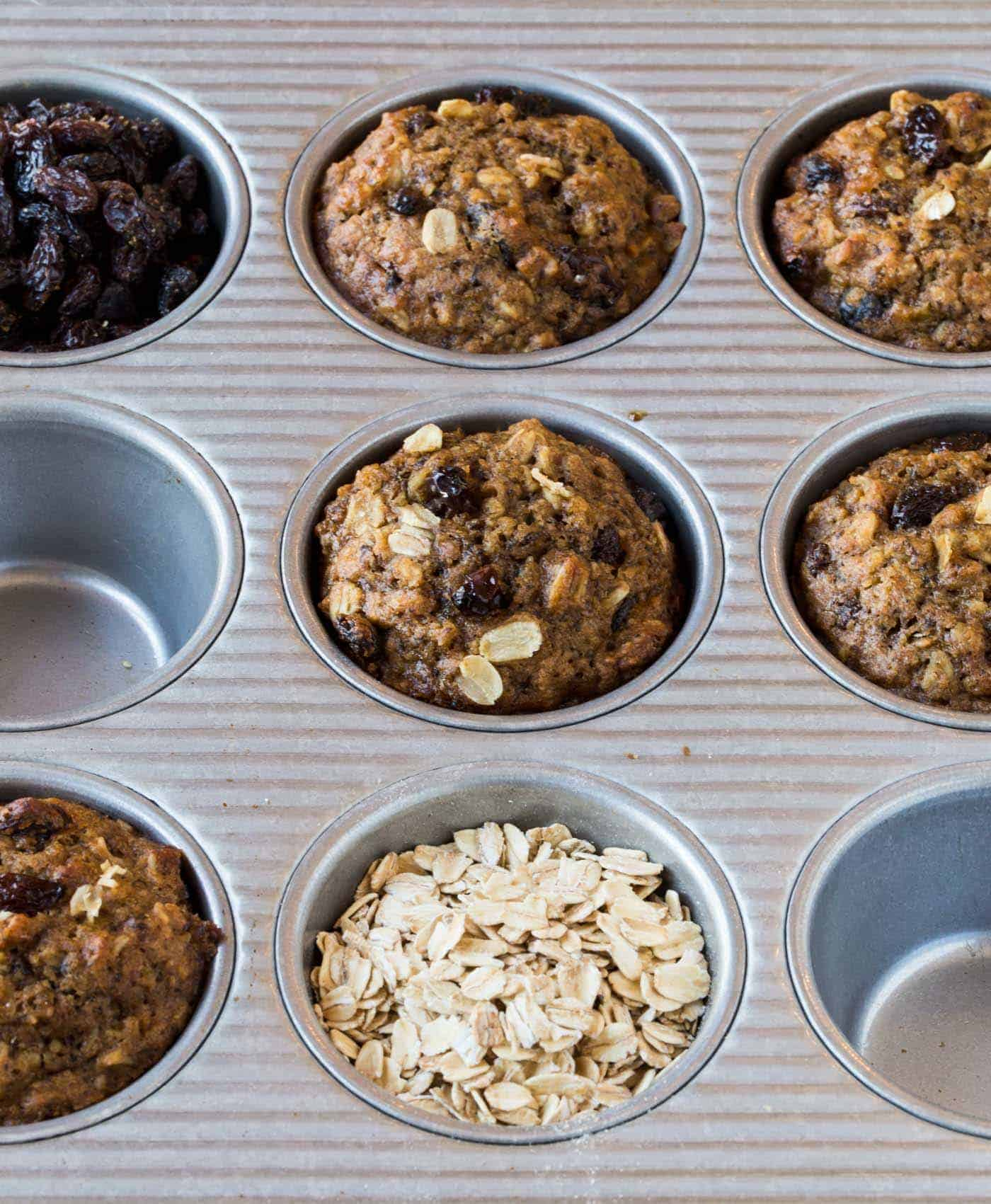 Add a dash of goodness to your morning nosh with this recipe for Healthy Oatmeal Raisin Muffins.