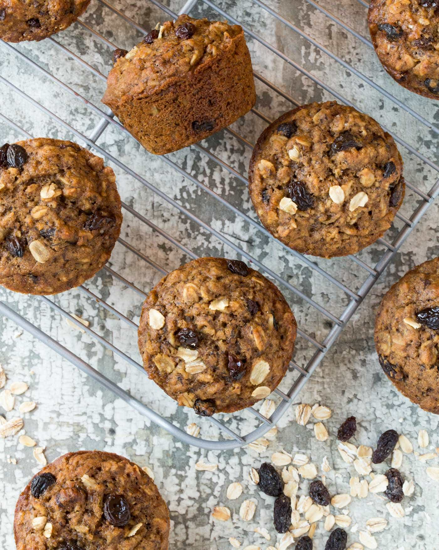 These Healthy Oatmeal Raisin Muffins freeze beautifully - perfect for last minute brunch guests!
