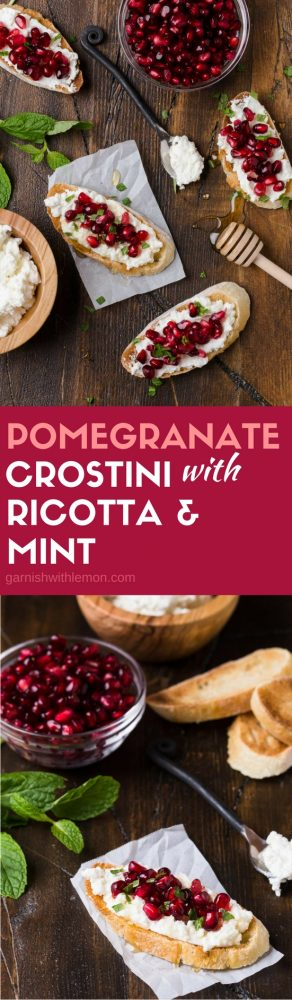 These Pomegranate Crostini with Ricotta and Mint come together in minutes - a perfect easy holiday appetizer!