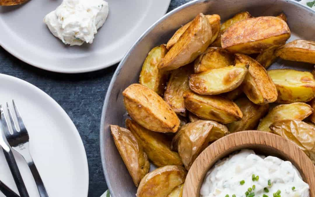 Roasted Potatoes with Sour Cream and Onion Dip