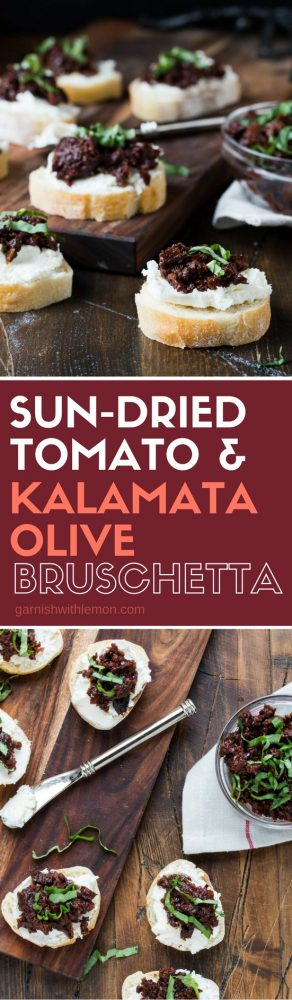 This Sun-dried Tomato and Kalamata Olive Bruschetta is a flavor packed appetizer that can be made ahead of time - perfect for entertaining!