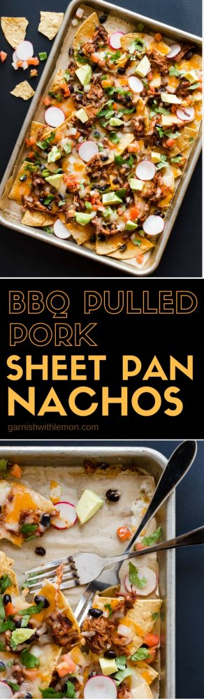 These BBQ Pulled Pork Sheet Pan Nachos are loaded with flavor and are served straight from the pan for easy clean up. Perfect food for the big game!