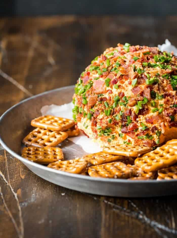 Bacon is always a hit at parties. Make this Bacon Pimento Cheese Ball and watch it disappear.