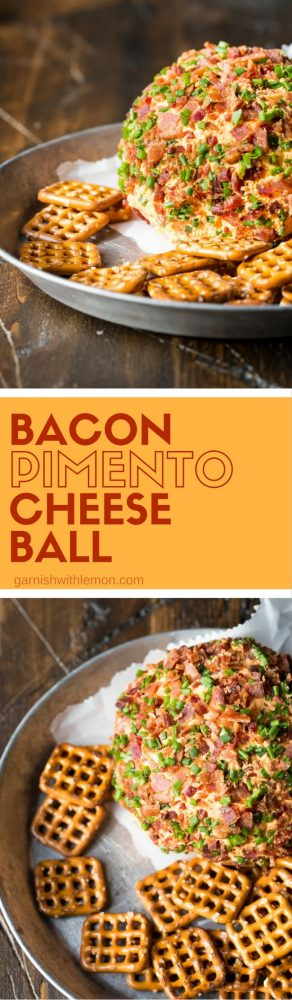 Who can resist bacon and cheese together? This easy, make-ahead Bacon Pimento Cheese Ball is guaranteed to be a crowd pleaser!