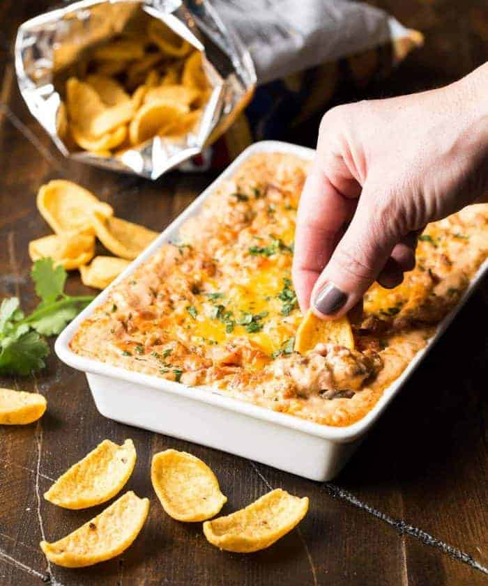You are just 5 ingredients away from this Hot Cheesy Sausage Dip! Watch out-it disappears quickly!