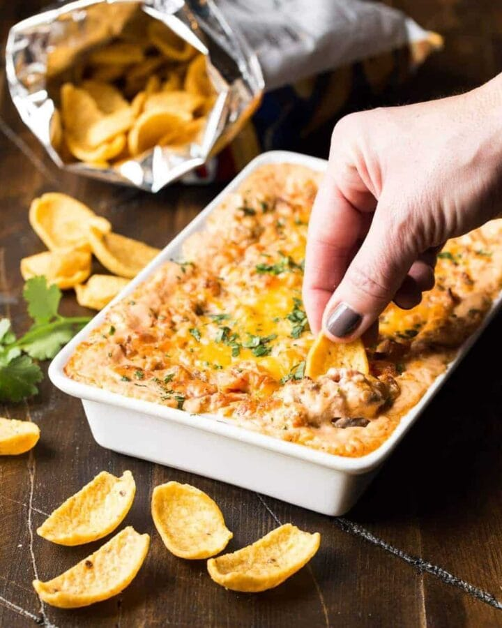 You are just 5 ingredients away from this Cheesy Sausage Dip!
