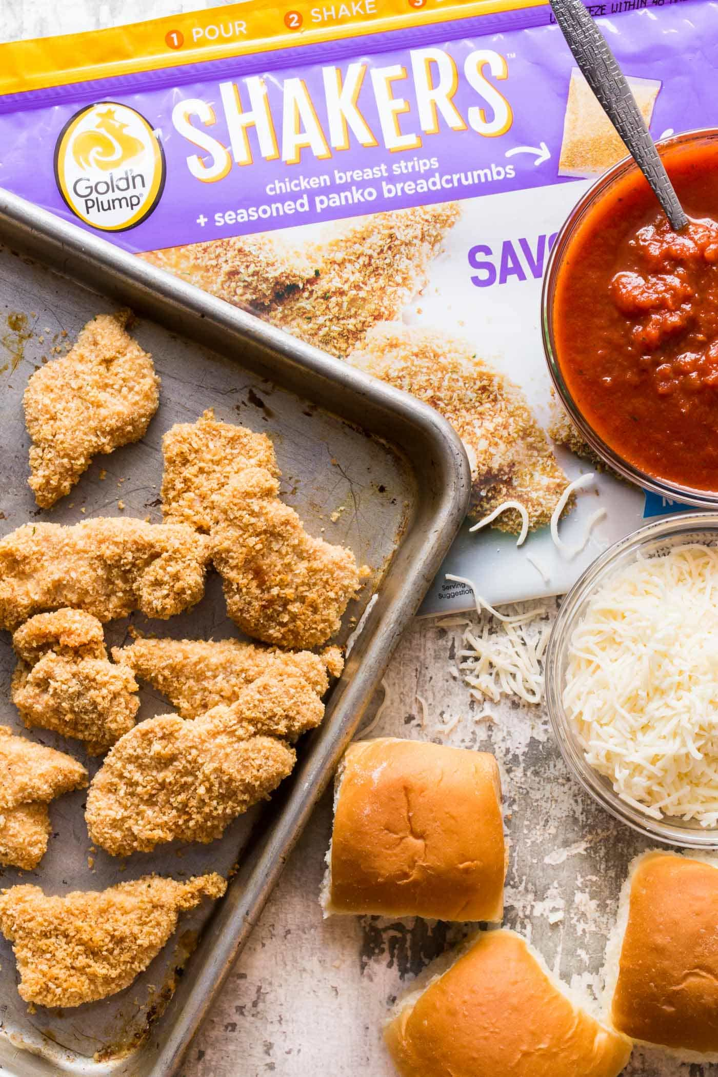 Party food doesn't get much tastier than these quick and easy Chicken Parmesan Sliders.
