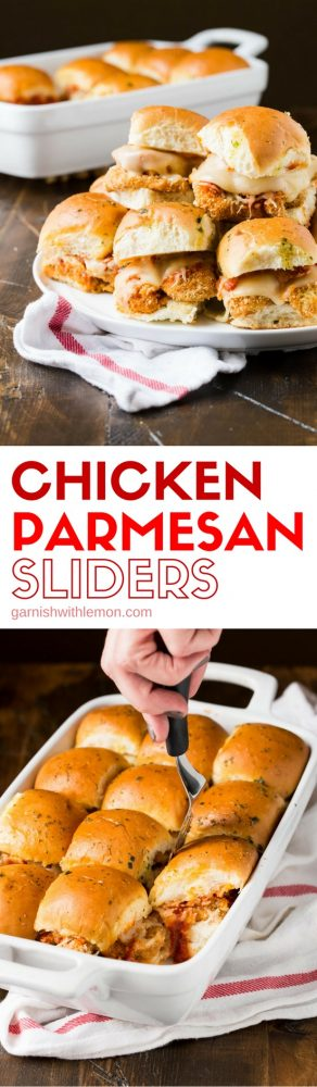 """These quick and easy Chicken Parmesan Sliders are the new """"must have"""" party food for any get together. Great for game day, too!"""