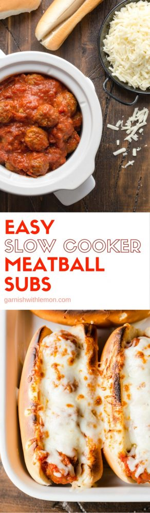Game day food doesn't get much easier than these 5-ingredient Easy Slow Cooker Meatball Subs! Great for groups and parties, too!