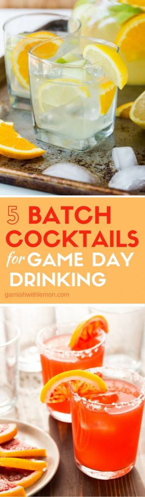 Sports fans are a thirsty crew! Quench everyone's thirst with these 5 Big Batch Cocktails for Game Day Drinking!
