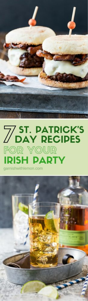 Various foods and drinks for St. Patrick\'s Day.