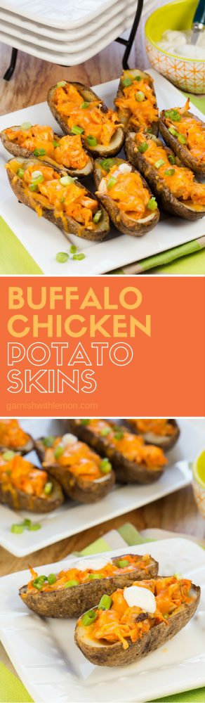 Buffalo Chicken Potato Skins -You don't need to go to a restaurant to satisfy your buffalo chicken cravings with this delicious and easy Buffalo Chicken Potato Skin recipe.