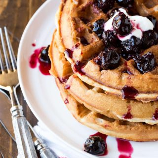 These Buttermilk Waffles with Cherry-Vanilla Sauce are the perfect addition to your next brunch menu - plus they can be made up to a half hour in advance!