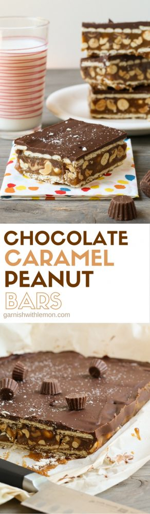 You can't go wrong with these layers! These Chocolate Caramel Peanut Bars will be a hit every time you serve them!