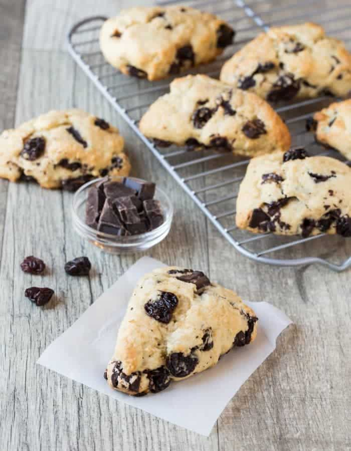 Tart dried cherries and rich dark chocolate chunks are in every delicious bite of this recipe for Dark Chocolate Cherry Scones.