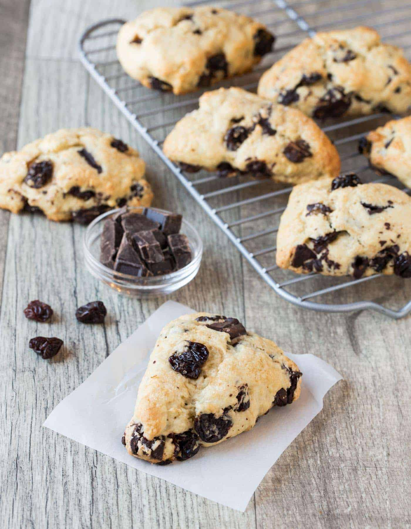 Dark Chocolate Cherry Scones on a cooling rack