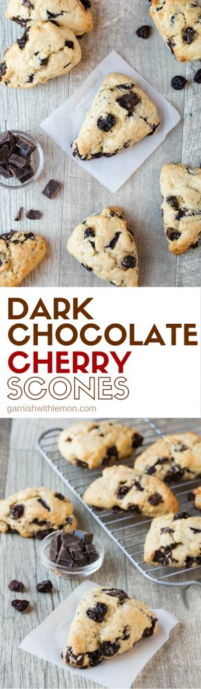 collage picture of dark chocolate cherry scones
