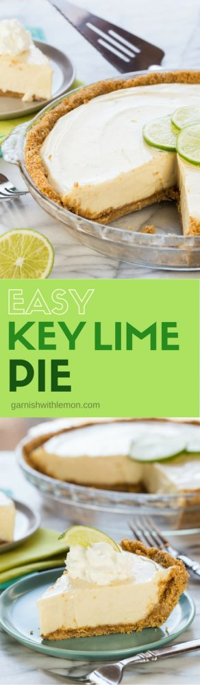 Collage of two images of Easy Key Lime Pie.