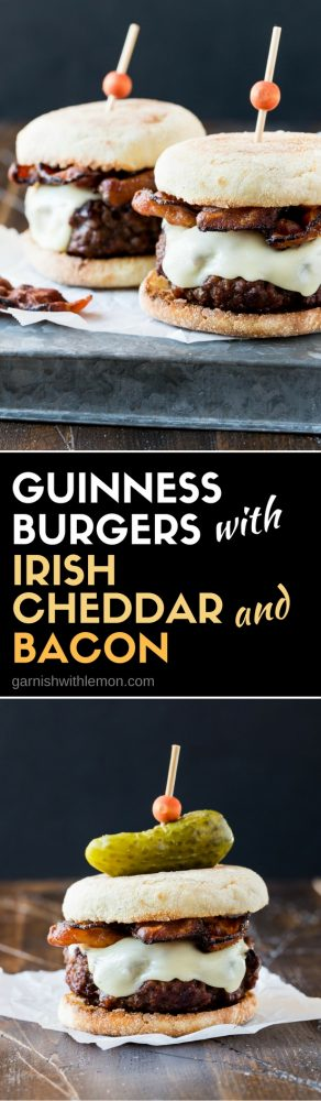 Collage picture of Guinness Burgers with Irish Cheddar and Bacon. #StPatricksDay #burgers #beer #Guinness