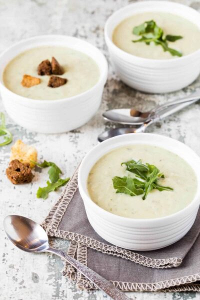 Roasted Potato Leek Soup with Arugula