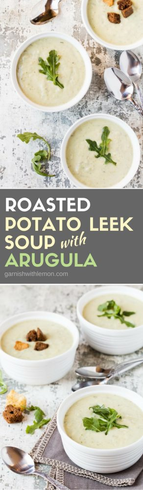 Collage picture of multiple white bowls of Roasted Potato Leek Soup with Arugula.