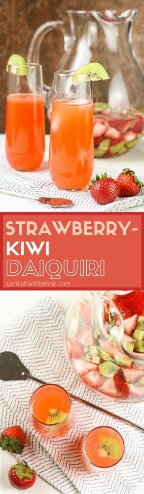 Strawberry Kiwi Daiquiri Recipe- A classic daiquiri made with strawberry-kiwi infused rum.