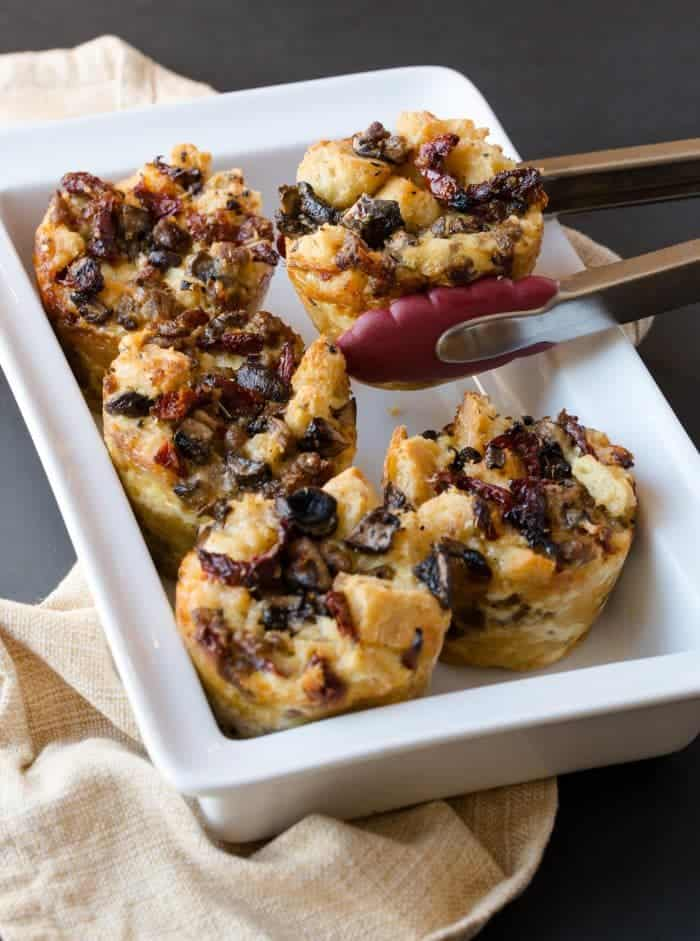Make brunch easy with these individual make-ahead Tuscan Stratas with Tuscan seasoning, sausage and sun-dried tomatoes.