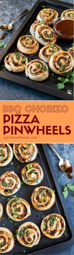 These BBQ Chorizo Pizza Pinwheels disappear every time I make them. A flavorful new appetizer recipe for your next game day party!