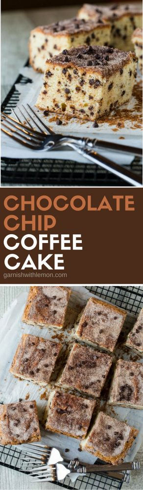 This easy Chocolate Chip Coffee Cake Recipe disappears every time I make it! It is a great addition to any brunch menu!