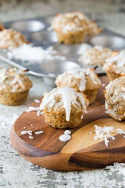 Coconut Banana Bread Mini Muffins with Lime Glaze